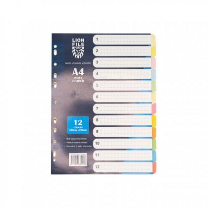 LION FILE Paper Index Divider (12 Tabs) 5 Sets