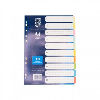 LION FILE Paper Index Divider (10 Tabs) 5 Sets