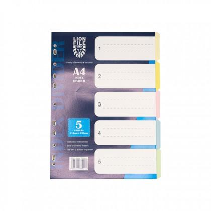 LION FILE Paper Index Divider (5 Tabs) 10 Sets